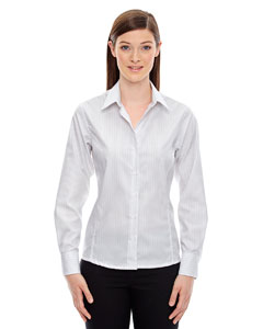 78674 Ash City - North End Ladies' Boardwalk Wrinkle-Free Two-Ply 80's Cotton Striped Tape Shirt