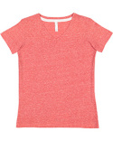3591 LAT Ladies' V-Neck Harborside Melange Jersey T-Shirt