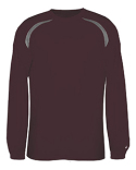 4153 Badger Adult Long-Sleeve Performance Tee with Heather Shoulder Inserts