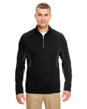 8434 UltraClub Adult Cool & Dry Colorblock Dimple Mesh Quarter-Zip Pullover