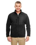 8492 UltraClub Men's Fleece Jacket with Quilted Yoke Overlay