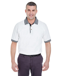 8536 UltraClub Adult White-Body Classic Piqué Polo with Contrast Multi-Stripe Trim