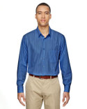 87044 Ash City - North End Men's Align Wrinkle-Resistant Cotton Blend Dobby Vertical Striped Shirt