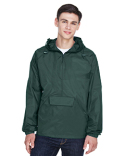 8925 UltraClub Adult Quarter-Zip Hooded Pullover Pack-Away Jacket