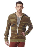 AA1970P Alternative Men's Eco Jersey Triblend Long-Sleeve Printed Full Zip Hoodie