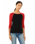 B2000 Bella + Canvas Ladies' Baby Rib 3/4-Sleeve Contrast Raglan T-Shirt