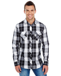 B8202 Burnside Men's Long-Sleeve Plaid Pattern Woven Shirt