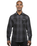 B8206 Burnside Men's Long-Sleeve Western Plaid Shirt