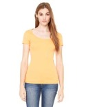 B8703 Bella + Canvas Ladies' Sheer Mini Rib Short-Sleeve Scoop Neck T-Shirt