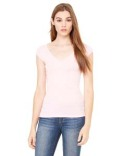 B8705 Bella + Canvas Ladies' Sheer Mini Rib Cap-Sleeve Deep V-Neck T-Shirt