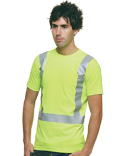 BA3771 Bayside 6.1 oz., 100% Cotton Hi-Visibility Solid Striping Pocket T-Shirt