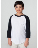 BB253W American Apparel Youth Poly-Cotton Youth 3/4 Sleeve T-Shirt