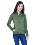 DG796W Devon & Jones Ladies' Newbury Colorblock Mélange Fleece Full-Zip