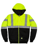 HVF023 Berne Men's Hi-Vis Class 3 Color Block Full-Zip Hooded Sweatshirt