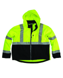 HVJS206 Berne Men's Hi-Vis Class 3 Hooded Softshell Jacket