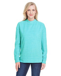 JA8428 J America Ladies' Weekend French Terry Mock Neck Crew
