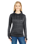 JA8662 J America Ladies' Odyssey Striped Poly Fleece Lapover Hood