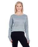 JA8663 J America Ladies' Odyssey Striped Poly Fleece Hi-Lo Crew
