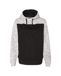 JA8676 J America Adult Melange Color Blocked Hooded Sweatshirt