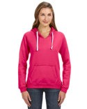 JA8836 J America Ladies' Sydney Brushed V-Neck Hooded Sweatshirt