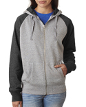 JA8868 J America Ladies' Glitter French Terry Contrast Full-Zip Hood