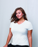 JMS30 Hanes Ladies' JMS 4.5 oz., 100% Ringspun Cotton V-Neck T-Shirt