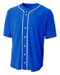 N4184 A4 Shorts Sleeve Full Button Baseball Top