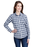 RP350 Artisan Collection by Reprime Ladies' Mulligan Check Long-Sleeve Cotton Shirt