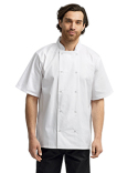 RP664 Artisan Collection by Reprime Unisex Studded Front Short-Sleeve Chef's Coat