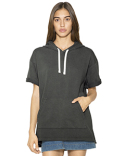 TF424W American Apparel Unisex French Terry Garment-Dyed Kangaroo Pocket Short-Sleeve Hooded Sweatshirt