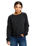 US238 US Blanks Ladies' Raglan Pullover Long Sleeve Crewneck Sweatshirt