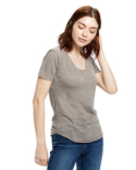 US333 US Blanks Ladies' Scalloped Hem Short-Sleeve Scoop Neck