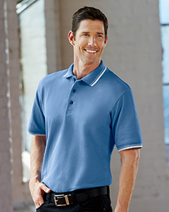 8545 UltraClub Men's Short-Sleeve Whisper Piqué Polo with Tipped Collar and Cuffs